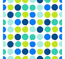 Print with randomly colored circles in bight blue green colors Photographic Print