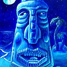 Moonlit Moai-Tiki Painting 1 by rawjawbone