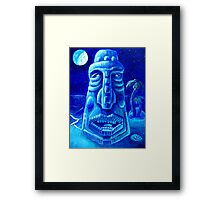 Moonlit Moai-Tiki Painting 1 Framed Print