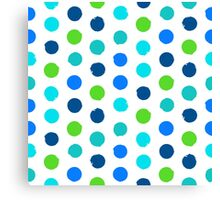 Polka dot print in blue green colors Canvas Print