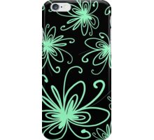 Doodle Flower in Pastel Green with Black Background iPhone Case/Skin