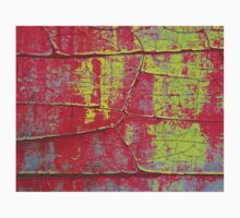 Abstract Art - Textures of Old Color in Red and Yellow One Piece - Long Sleeve