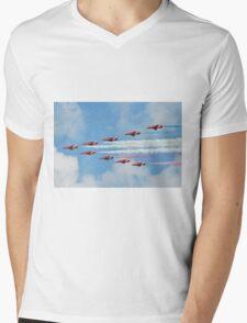 Red Arrows in flight Mens V-Neck T-Shirt