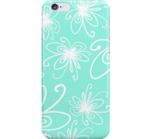 Doodle Flower in White with Blue Background iPhone Case/Skin
