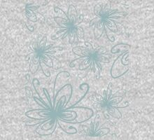 Doodle Flower in Pastel Blue with Grey Background Kids Clothes