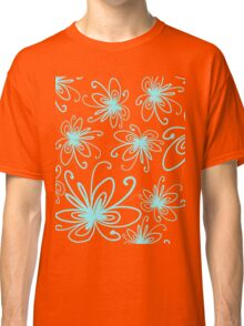Doodle Flower in Pastel Blue with Grey Background Classic T-Shirt