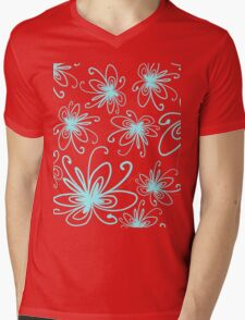 Doodle Flower in Pastel Blue with Grey Background Mens V-Neck T-Shirt