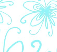 Doodle Flower in Pastel Blue with Grey Background Sticker