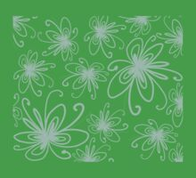 Doodle Flower in Pastel Green with Black Background Baby Tee