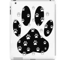 White Paws All Over Black Paw Print iPad Case/Skin