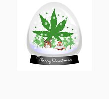Merry Christmas Marijuana Snow Globe Womens Fitted T-Shirt