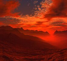 Volcanic Valley Sunset by AlienVisitor