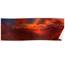 Volcanic Valley Sunset Poster