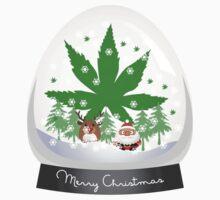 Merry Christmas Marijuana Snow Globe by MarijuanaTshirt