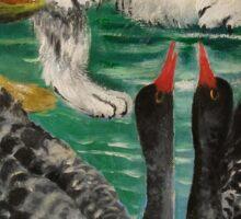 cat and black swan Sticker