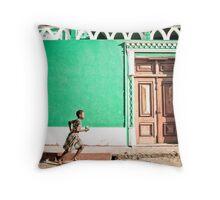 Girl at Green Mosque (IlhaMoç) Throw Pillow