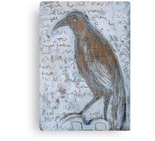 white bird and writing... Canvas Print