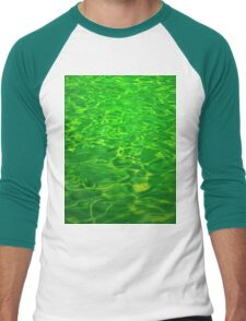 Green Emerald Water - Color Background and Texture Men's Baseball ¾ T-Shirt