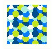 Bold geometric pattern with blue green circles Art Print