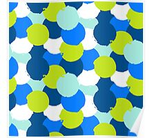 Bold geometric pattern with blue green circles Poster