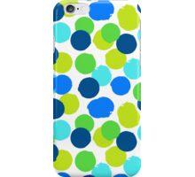 Polka dot print in blue green random colors iPhone Case/Skin