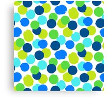 Polka dot print in blue green random colors Canvas Print