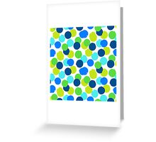 Polka dot print in blue green random colors Greeting Card
