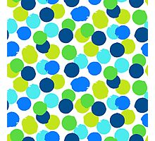 Polka dot print in blue green random colors Photographic Print
