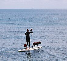 ONE MAN AND HIS DOG + SURFBOARD. by ronsaunders47