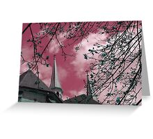 """""""Double Steeples""""* - in Mauve Greeting Card"""