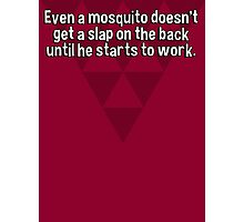 Even a mosquito doesn't get a slap on the back until he starts to work. Photographic Print