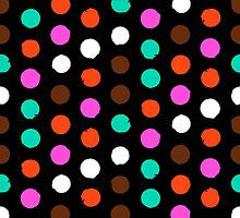 Colorful polka dots on black by tukkki