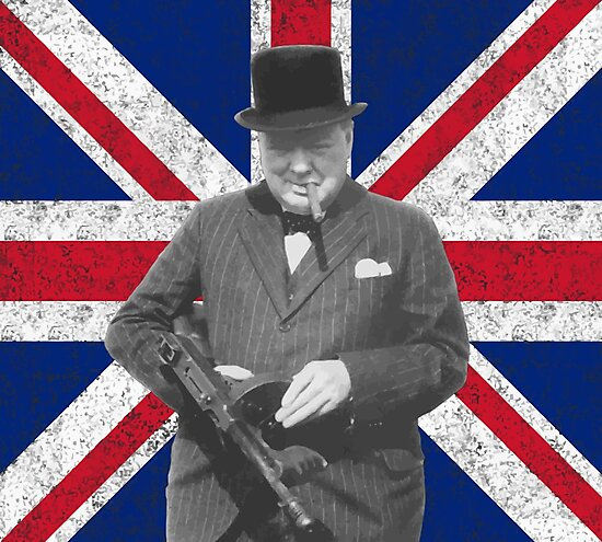 Churchill Posing With A Tommy Gun by warishellstore
