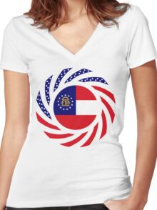 Georgian Murican Patriot Flag Series Women's Fitted V-Neck T-Shirt