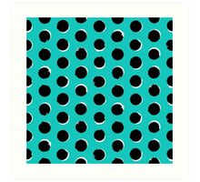 Eclipse polka dot in turquoise Art Print