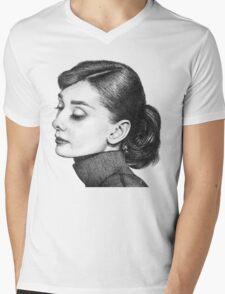 Audrey Hepburn Stippling Portrait Mens V-Neck T-Shirt