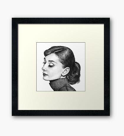Audrey Hepburn Stippling Portrait Framed Print