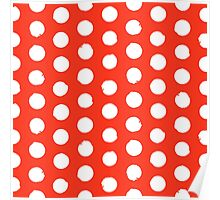 Classic red and white polka dots Poster