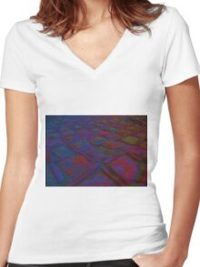 Square Stones Pathway Number 6 Women's Fitted V-Neck T-Shirt