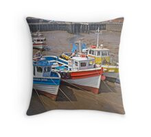 Bridlington harbour Throw Pillow