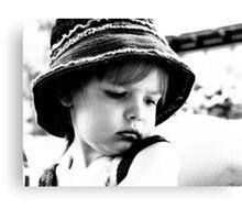 Little Girl Wearing A Hat Canvas Print