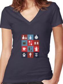 Household items on a colorful background Women's Fitted V-Neck T-Shirt