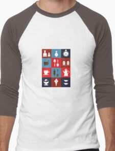 Household items on a colorful background Men's Baseball ¾ T-Shirt
