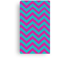 Blue And Pink Chevron Pattern Canvas Print