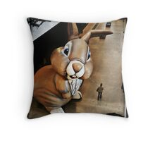 Out of the blue, she found herself wondering if Kierkegaard had mentioned giant bunny hallucinations in his analysis of existential anxiety and life's absurdity Throw Pillow