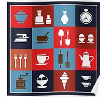 Household items on a colorful background Poster