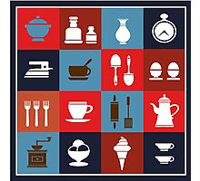 Household items on a colorful background Photographic Print