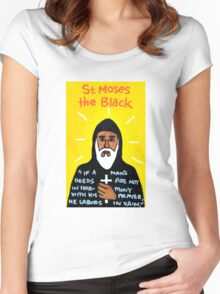 St. Moses the Black Religious Folk Art Women's Fitted Scoop T-Shirt