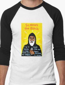 St. Moses the Black Religious Folk Art Men's Baseball ¾ T-Shirt