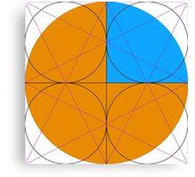 Sacred Geometry Design Orange and Blue Canvas Print